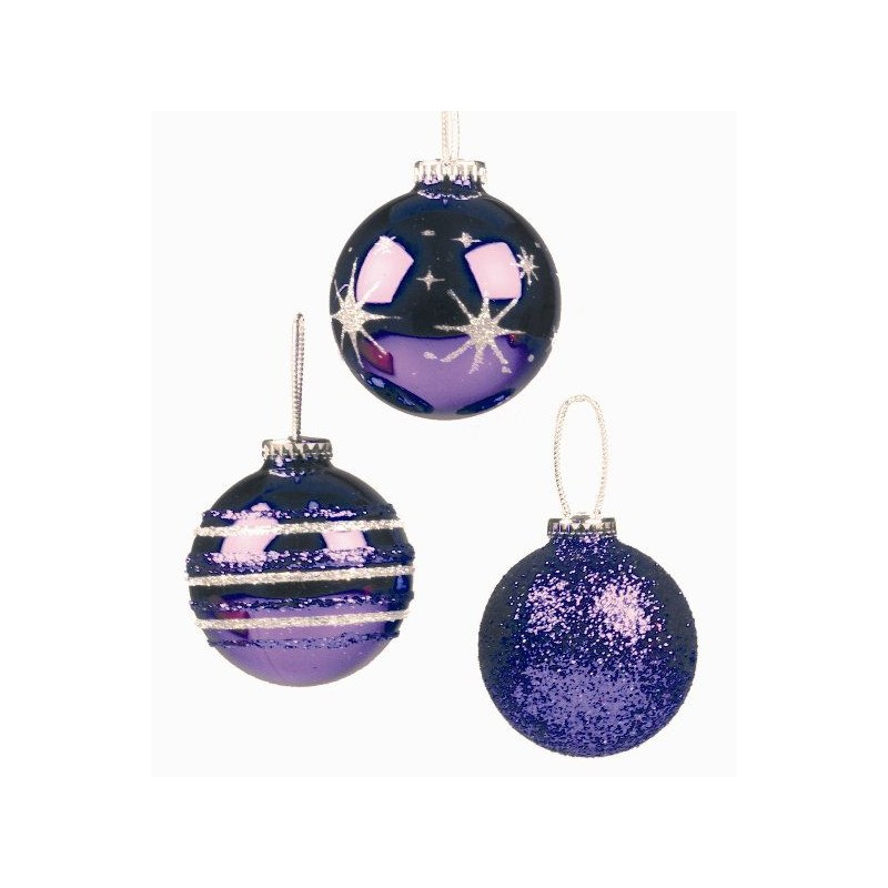 boules violettes pour sapin de noel mediacible promotion. Black Bedroom Furniture Sets. Home Design Ideas