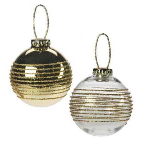 Lot de 2 boules striées pailletées or
