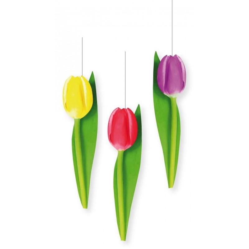 3 découpes tulipes à suspendre
