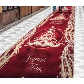 Moquette luxe, fond rouge, motif Père-Noël