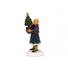 ENFANT PORTANT UN SAPIN COLLECTION LEMAX