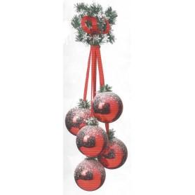 Grappe de 5 boules de Noël