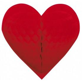 Coeur rouge à suspendre papier gaufré 46cm