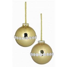 Boule décorée or ou nacrée avec liseré argent